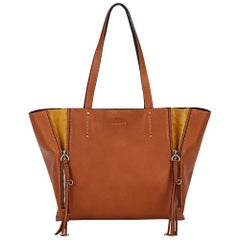 Chloé Milo Medium Suede Trimmed Leather Tote Bag