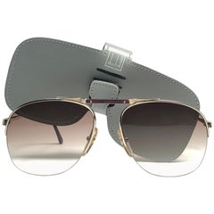 New Vintage Dunhill 6022 Real Wood Trims Details Half Frame Sunglasses France