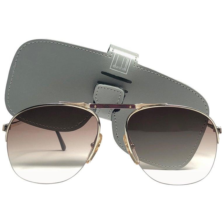 194f8cc59f New Vintage Dunhill 6022 Real Wood Trims Details Half Frame Sunglasses  France For Sale
