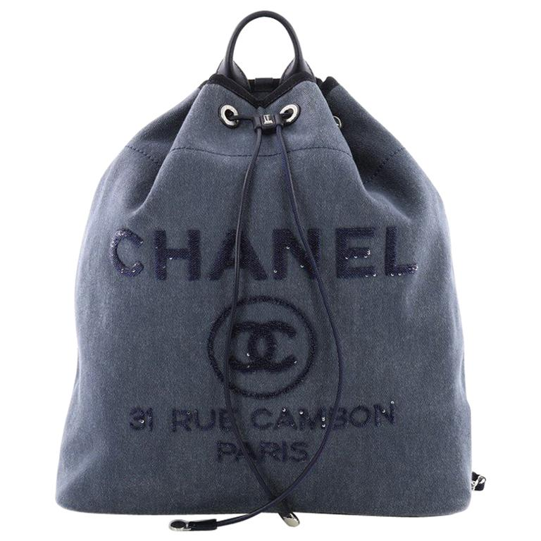 4cef2d43b Chanel Deauville Backpack Canvas with Sequins Large at 1stdibs