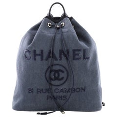 Chanel Deauville Backpack Canvas with Sequins Large