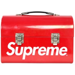 Supreme Collectible Red Metal Lunch Box Bag w/ White Logo