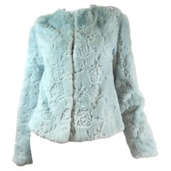 Blue Laser Cut Mink Fur Jacket
