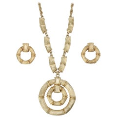 1970's Napier Gold Tone Bamboo Necklace & Earrings Set