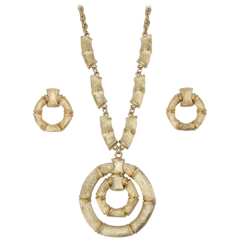 1970's Napier Gold Tone Bamboo Necklace & Earrings Set For Sale