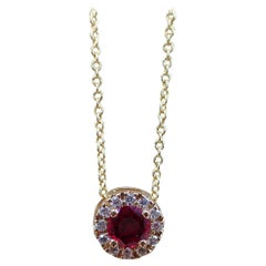 18k Yellow Gold Pendant with 0.48 carat Chatham Ruby and 0.09 carats of Diamond