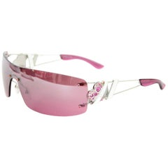 Dior Pink Heart Core Rimless Shield Sunglasses W/ Rhinestone Logo Arm