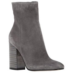 Gianvito Rossi Lacquered-Heel Suede Ankle Boots