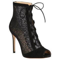 Gianvito Rossi Rebecca Lace and Suede Lace-Up Ankle Boots