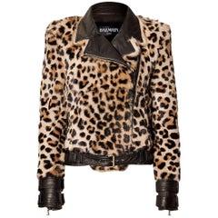 Balmain Leopard-Print Fur Biker Jacket