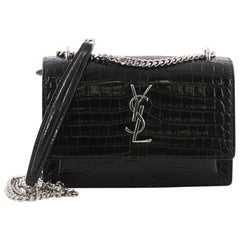 Saint Laurent Sunset Chain Wallet Crocodile Embossed Leather