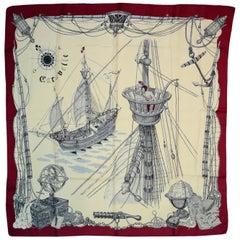 Hermes Cream/Burgundy Caravelle 90 CM Silk Scarf