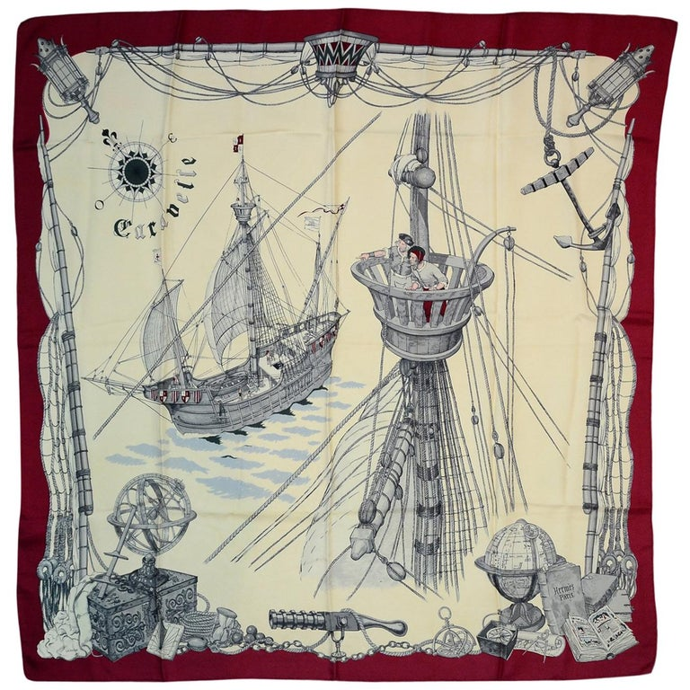 Hermes Cream/Burgundy Caravelle 90 CM Silk Scarf  For Sale