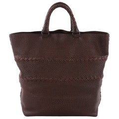 Bottega Veneta Open Tote Cervo Leather with Intrecciato Detail Large