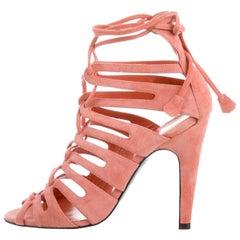 Hermes NEW Pink Suede Lace Tie Up Gladiator Evening Heels Sandals