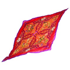 Hermes Orange/Red/Purple Pleated Plisse Silk Scarf