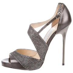 Jimmy Choo NEW Silver Leather Glitter Strappy Evening Sandals Heels in Box