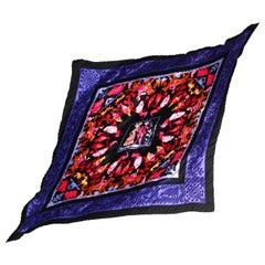 Hermes Black/Multi-Color Washingtons Plisse Pleated Silk Scarf