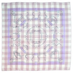 Hermes Lavender/Pink Check Mors d' Gourmettes Silk Scarf W/ Box