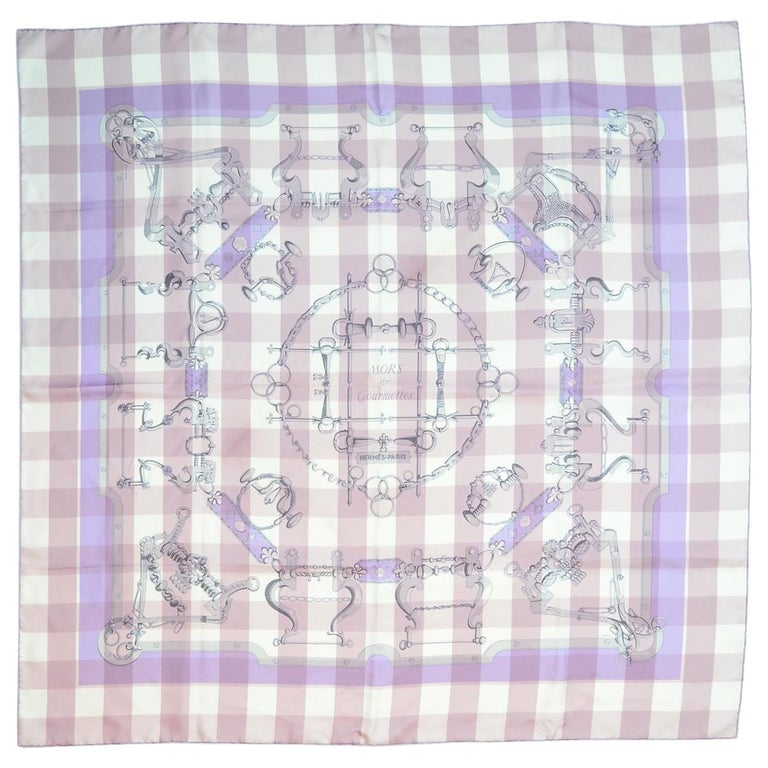 Hermes Lavender/Pink Check Mors d' Gourmettes Silk Scarf W/ Box For Sale