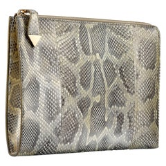 TYLER ELLIS Ben Attache Natural Gold Glossy Python Gold Hardware