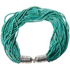 Vintage David Saity Multi Strand Turquoise Necklace