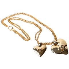 Vintage Chanel Double Heart Necklace - 1993