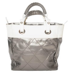 Chanel Silver Coated Cream and Cream Linen Biarritz Tote with Silver HW