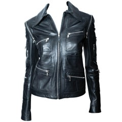 Dolce & Gabbana Black Leather Jacket with Detachable Sleeves