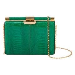 TYLER ELLIS Jamie Clutch Emerald Green Ostrich Leg Gold Hardware
