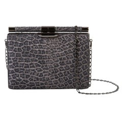 TYLER ELLIS Jamie Clutch Small Navy + Silver Honeycomb Leather Gunmetal Hardware