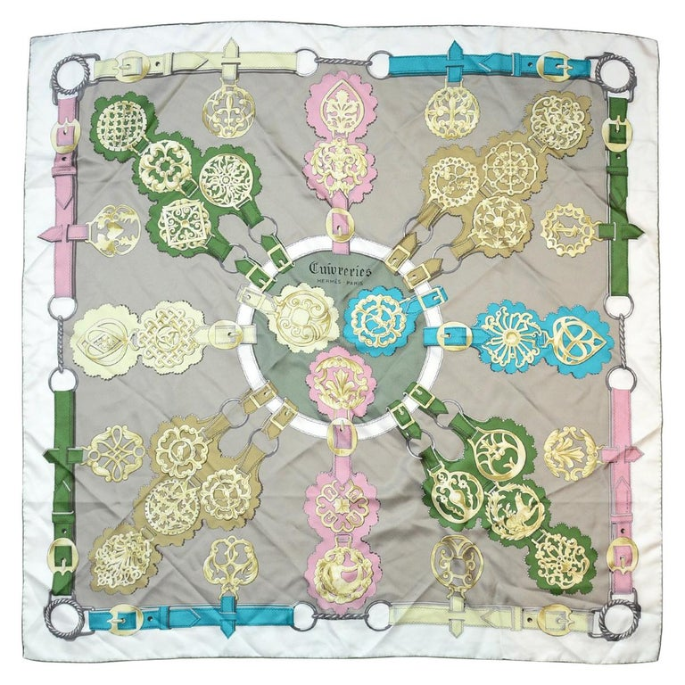 Hermes Grey/Multi-Color Cuivreries Buckle Print 90CM Silk Scarf W/ Box For Sale