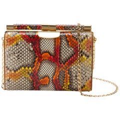 TYLER ELLIS Jamie Clutch Small Kaleidoscope Python Gold Hardware