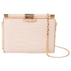 TYLER ELLIS Jamie Clutch Small Light Pink Alligator Rose Gold Hardware