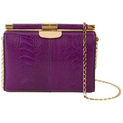 TYLER ELLIS Jamie Clutch Small Purple Ostrich Leg Gold Hardware