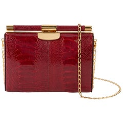 TYLER ELLIS Jamie Clutch Small Deep Red Ostrich Leg Gold Hardware