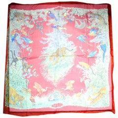 Hermes Red Silk Equateur Mousseline Scarf rt. $920
