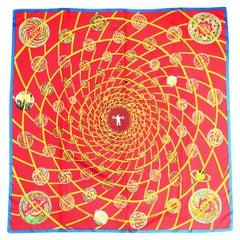 Hermes Red/Multi-Color Les Faux De L'Espace Silk Scarf