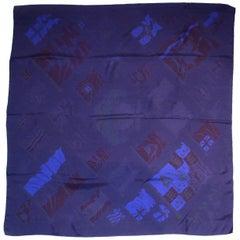 Hermes Dark Blue Pavois Dip Dye 90cm Silk Scarf