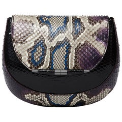 TYLER ELLIS Barbara Clutch Small Blue/Violet Python Gunmetal Hardware