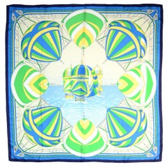 Hermes Blue/Green/White Spinnakers Print Silk Scarf