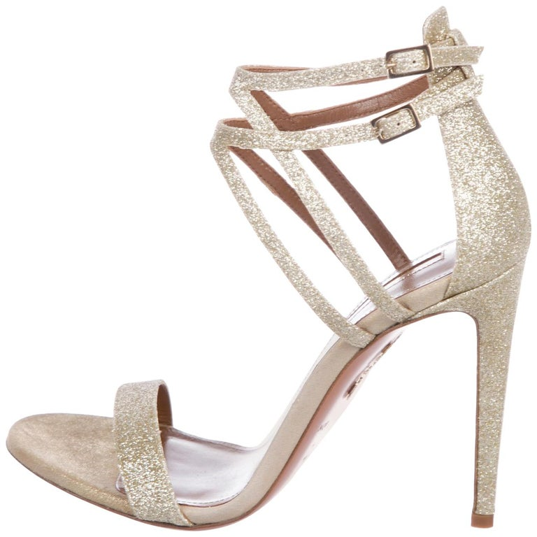 588b9dd18dcb Aquazzura NEW Gold Glitter Criss Cross Evening Sandals Heels in Box For Sale