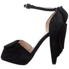 Prada NEW Midnight Blue Suede Ruffle Platform Evening Sandals Heels in Box
