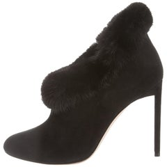 Christian Dior NEW Black Suede Fur Evening Ankle Booties Boots in Box