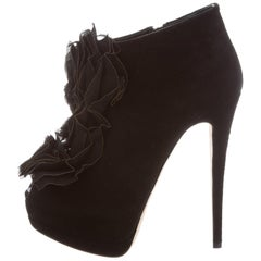 Giuseppe Zanotti NEW Black Suede Ruffle Evening Ankle Booties Boots in Box