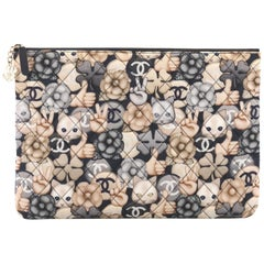 Chanel Emoticon O Case Clutch Quilted Printed Nylon Large