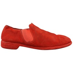 GUIDI Size 11 Red Distressed Kangaroo Suede Monochromatic Loafers Shoes