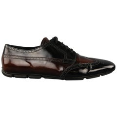 PRADA Size 12 Black & Brown Ombre Patent Leather Wingtip Lace Up Shoes