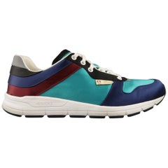 GUCCI Size 11 Teal & Navy Color Block Satin Ipanema Sneakers