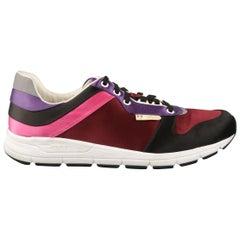 GUCCI Size 11 Burgundy Black Purple & Pink Color Block Satin Ipanema Sneakers